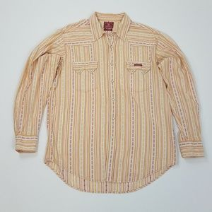 Lucky Brand Dungarees Western Pearl Snap Shirt Lg